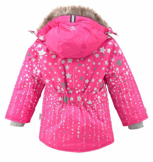 Růžová dívčí zimní bunda s hvězdičkami