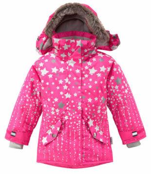 Růžová holčičí zimní bunda s kapucí