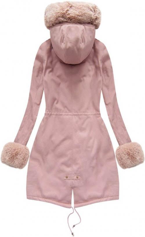 Růžový dámský zimní kabát s kapucí