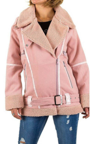 Růžová zimní bunda s teplým kožíškem a opaskem