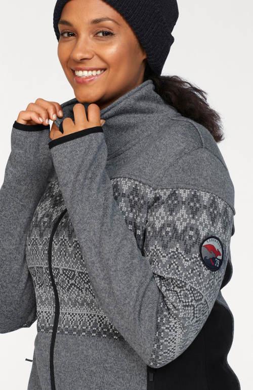 Šedá mikinová dámská zimní bunda