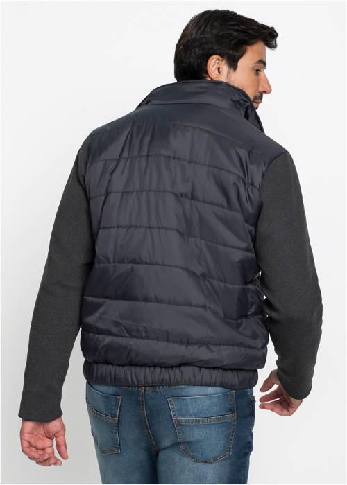 Šedá pánská zimní bunda s úpletovými rukávy