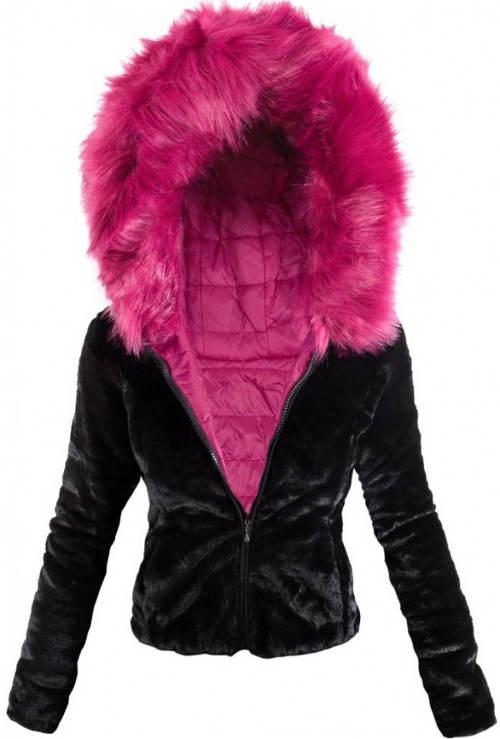 Semišová bunda s tmavě růžovým kožíškem
