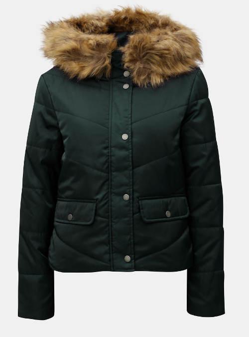 Tmavě zelená prošívaná zimní bunda s umělým kožíškem