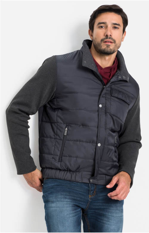 Vestová pánská bunda s rukávy v pleteném vzhledu