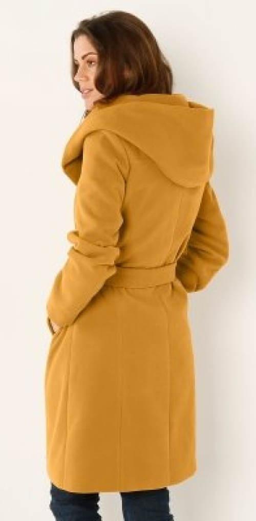 Žlutý dámský zimní kabát s kapucí