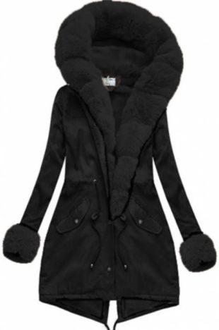Černá dámská zimní bunda s hřejivými náplety na konci rukávů