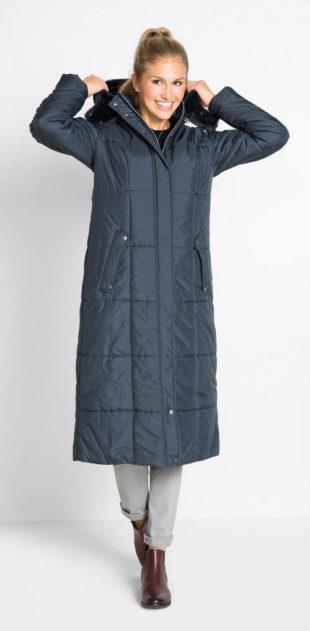 Lehký dlouhý dámský prošívaný kabát
