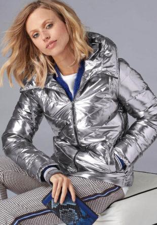 Lesklá stříbrná prošívaná dámská bunda GUIDO MARIA