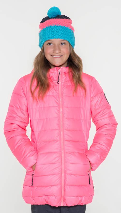Levná růžová zimní bunda pro malou princeznu