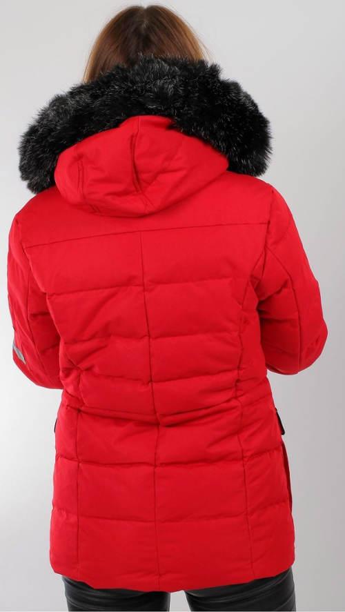 Prošívaná červená bunda s kapucí
