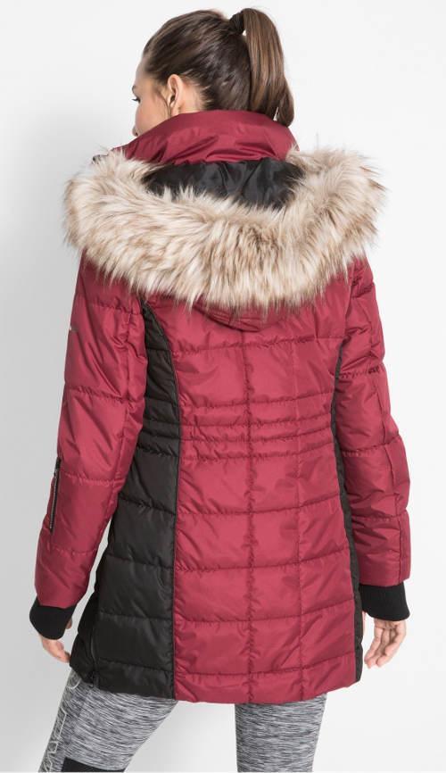 Vínový dámský prošívaný kabát s kapucí