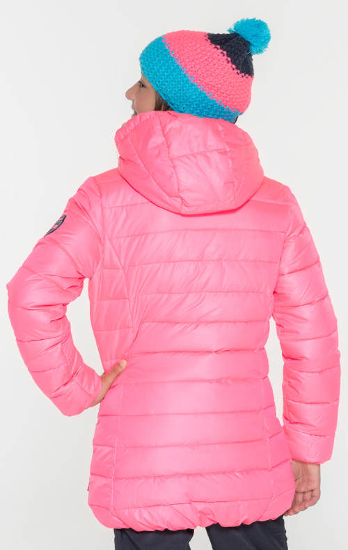 Zářivě růžová dívčí zimní bunda