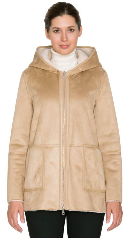 Béžový dámský kabát kratší délky