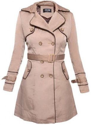 Béžový zimní elegantní dámský kabát