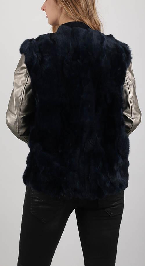 Bunda Replay kožíšková vesta koženkové rukávy