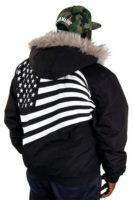 Černá pánská zimní bunda s americkou vlajkou na zádech