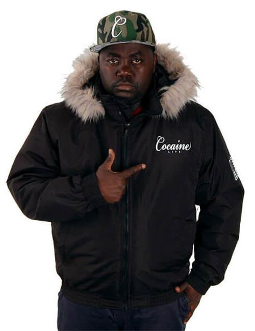 Černá pánská zimní bunda Cocaine