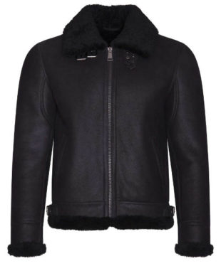 Černá zimní pánská kožená bunda Kara