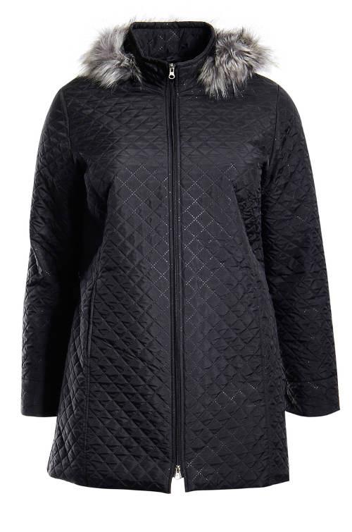Černý prošívaný dámský zimní kabát
