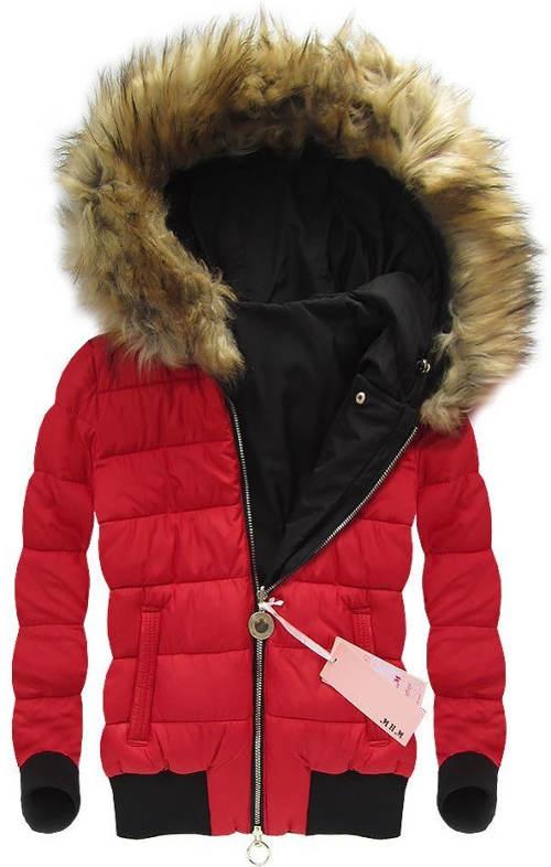 Červená oboustranná dámská zimní bunda