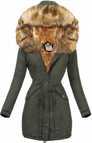 Dámská zimní bunda s kožešinou v přirozené barvě