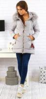 Dámská zimní prošívaná bunda s bohatým kožíškem
