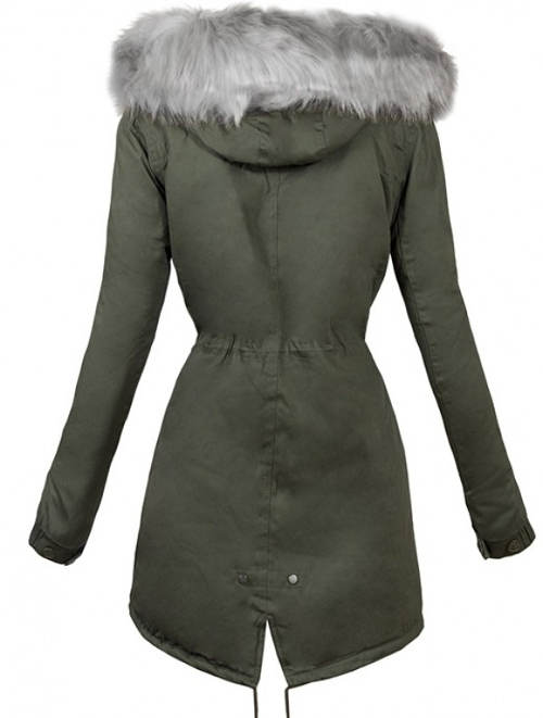Dámský zimní kabát se stahovací šňůrkou v pase