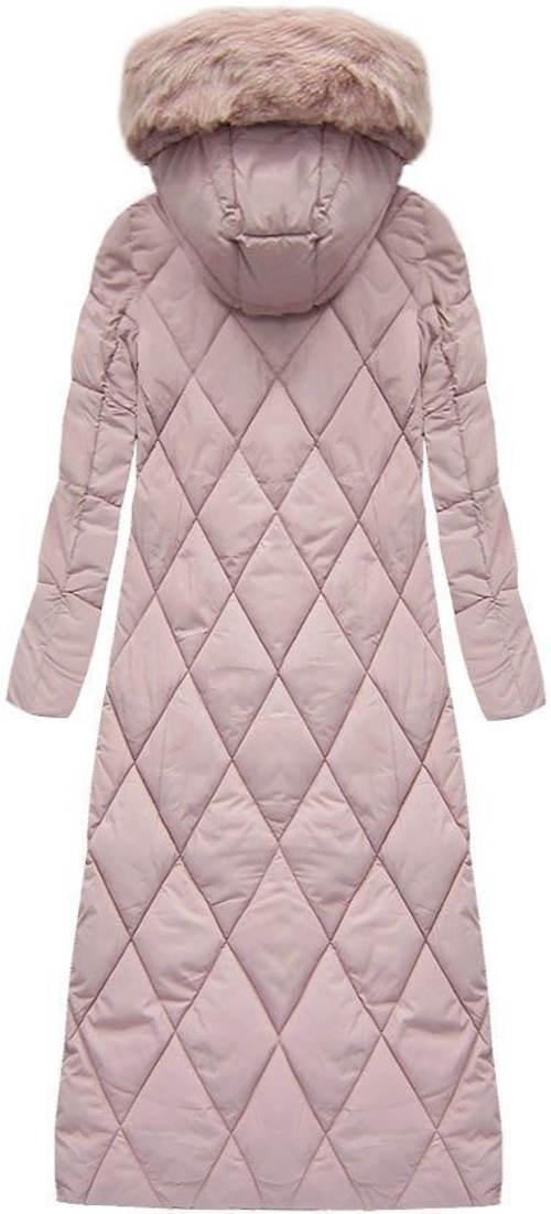 Dlouhá zimní bunda s karovaným prošitím
