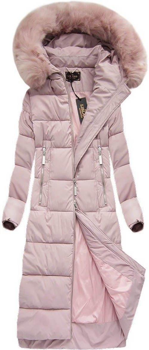 Dlouhý dámský růžový prošívaný zimní kabát