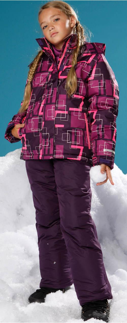 Fialová dívčí lyžařská bunda