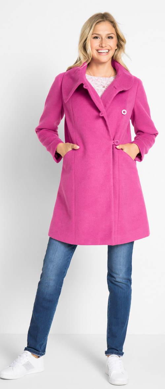 Fialový dámský kabát s velkým límcem