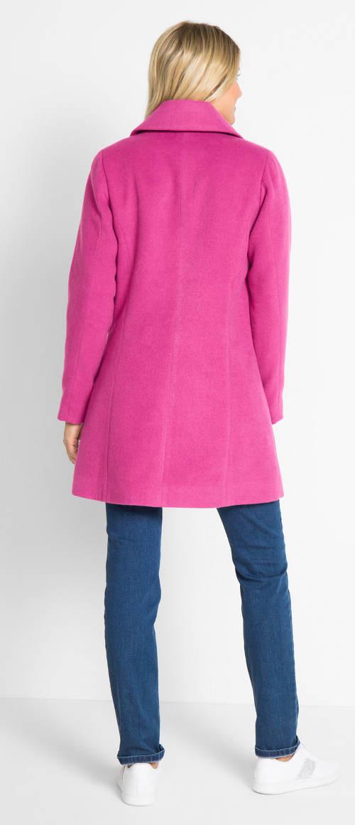 Fuchsiový dámský zimní kabát