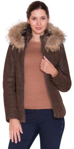 Hnědá kožená dámská bunda Kara s kožešinou z mývalovce