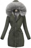 Khaki dámská zimní parka s šedou kožešinou