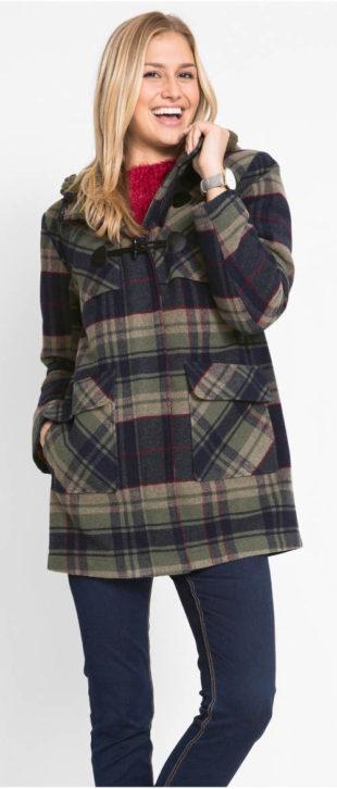 Kostkovaný dámský kabát