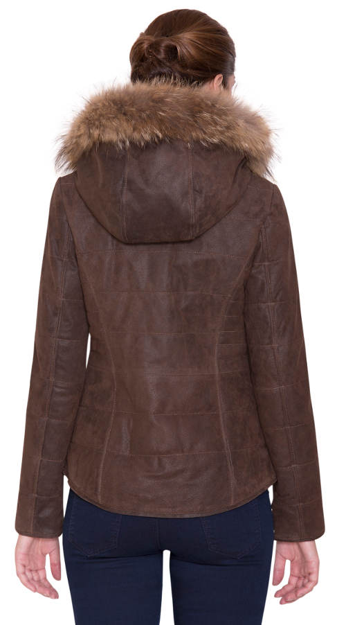 Kožená dámská zimní bunda s kapucí