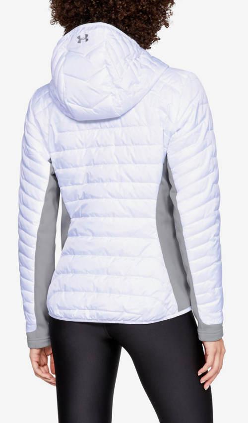 Krátká bílá prošívaná bunda s kapucí