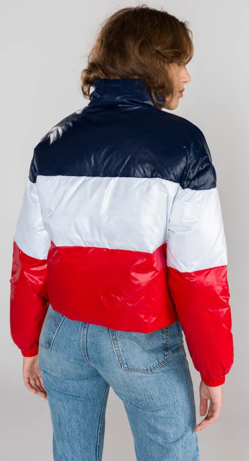Krátká pruhovaná dámská zimní bunda