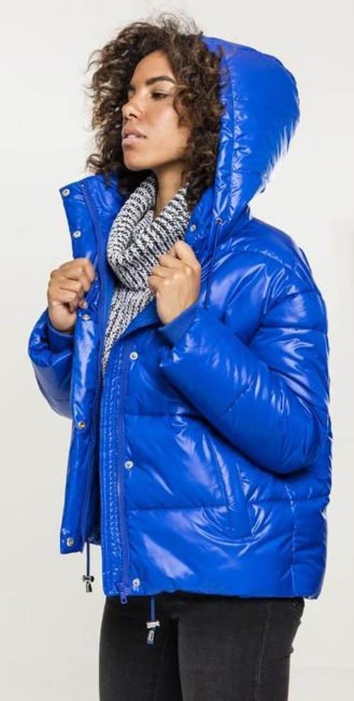 Lesklá dámská lyžařská bunda s kapucí