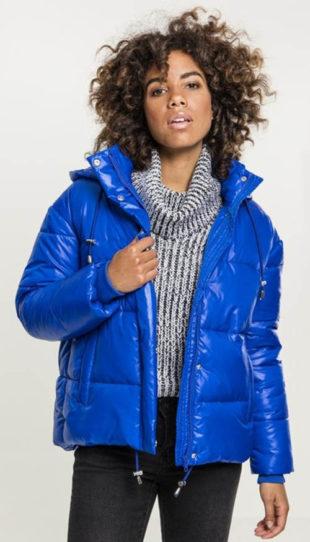 Lesklá modrá prošívaná dámská zimní bunda