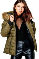 Luxusní dámská khaki zimní bunda