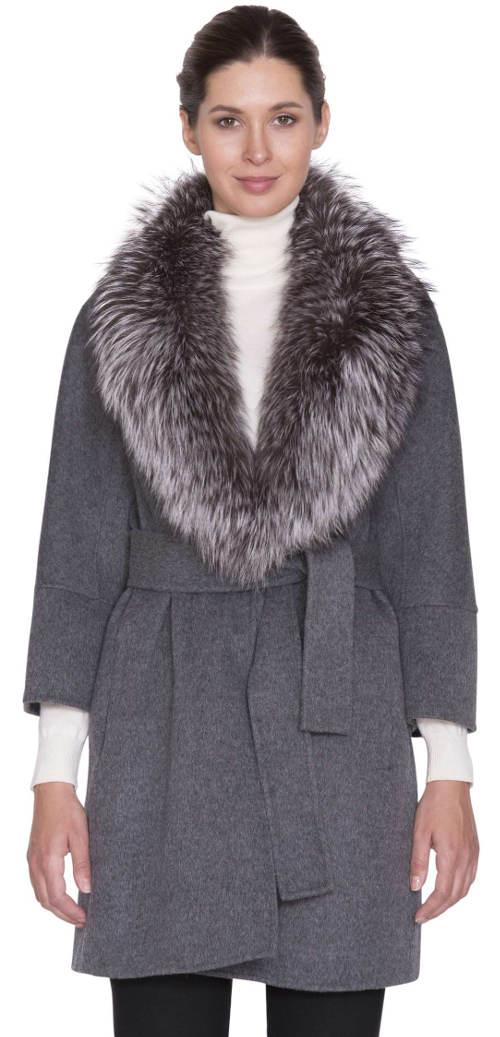Luxusní dámský vlněný kabát s límcem z lišky stříbrné