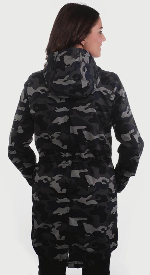 Maskáčový dámský kabát s kapucí