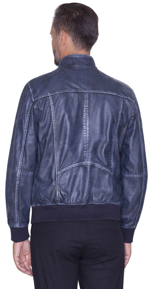 Modrá pánská bunda z pravé kůže