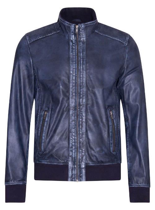 Modrá pánská kožená bunda z jehnětiny s patinou