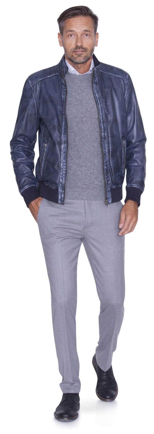 Modrá pánská kožená bunda Kara