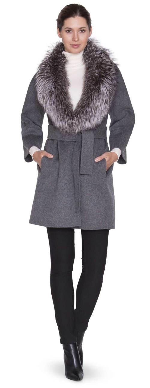 5df48f658f9 Luxusní dámský vlněný kabát s límcem z lišky stříbrné
