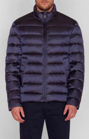Pánská zimní péřová bunda v tmavě modré barvě se stojáčkem