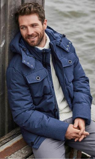 Pánská zimní prošívaná bunda s mnoha kapsami